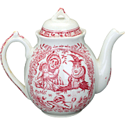 English Staffordshire child's transfer ware ceramic teapot by Allerton with Punch and Judy motif late 19th century