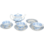 Early Staffordshire Child's Tea set Dancing Goat blue transfer ware pearl ware circa 1860