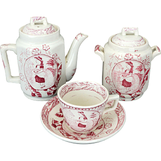 """Child's Staffordshire red transfer ware Charles Allerton """"Little May with Apron"""" tea set circa 1880"""