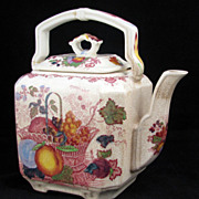 "Mason's Colorful Transferware ""Fruit Basket"" Teapot"