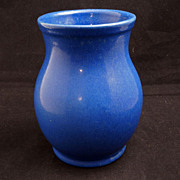 Zanesville, Ohio 1920's blue pottery arts and crafts vase