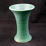 Zanesville, Ohio 1920's matte green arts and crafts mallet vase