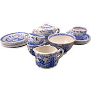 17-piece rare blue and white Water Hen Staffordshire English transferware child's tea set circa 1880/1890