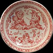 C. Allerton & Sons English Staffordshire red Punch and Judy transferware ceramic child's tea set saucer circa 1880
