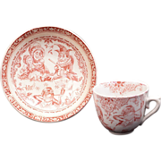Staffordshire Allerton Punch & Judy red transferware paste child's teacup and saucer circa 1880