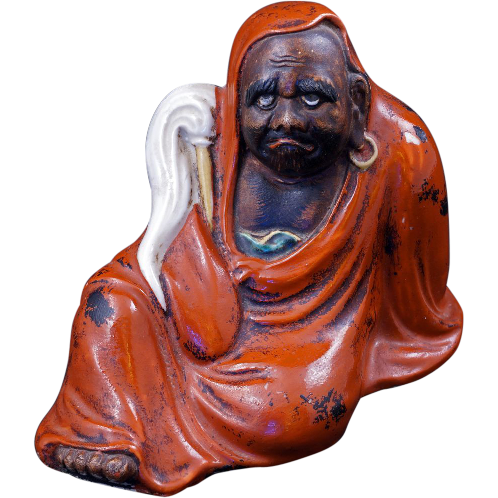Japanese Ceramic Figure Of Dharma The Buddhist Monk Early
