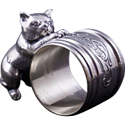 Vintage silver plate napkin ring of a cat