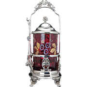 Antique Victorian silver plate pickle castor by Aurora with enameled cranberry glass late 19th century