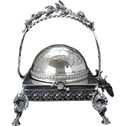 Large Victorian silver plate butter dish with retractable lid by Reed and Barton circa 1870