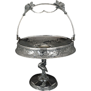 Large Aesthetic Movement silver plate cake basket with Heron base by Roger Brothers circa 1870