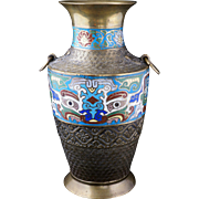 Large Japanese archaic style bronze vase with cloisonné Tao tie masks and ring handles circa 1920
