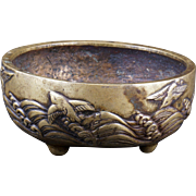 Japanese Meiji bronze censer with waves and water birds circa 1900