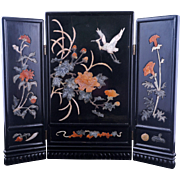 Vintage Chinese stone inlayed and lacquer three panel table screen with egret and floral designs circa 1940