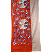 Chinese red wool hand embroidered 7+ foot banner with auspicious symbols late 19th early 20th century