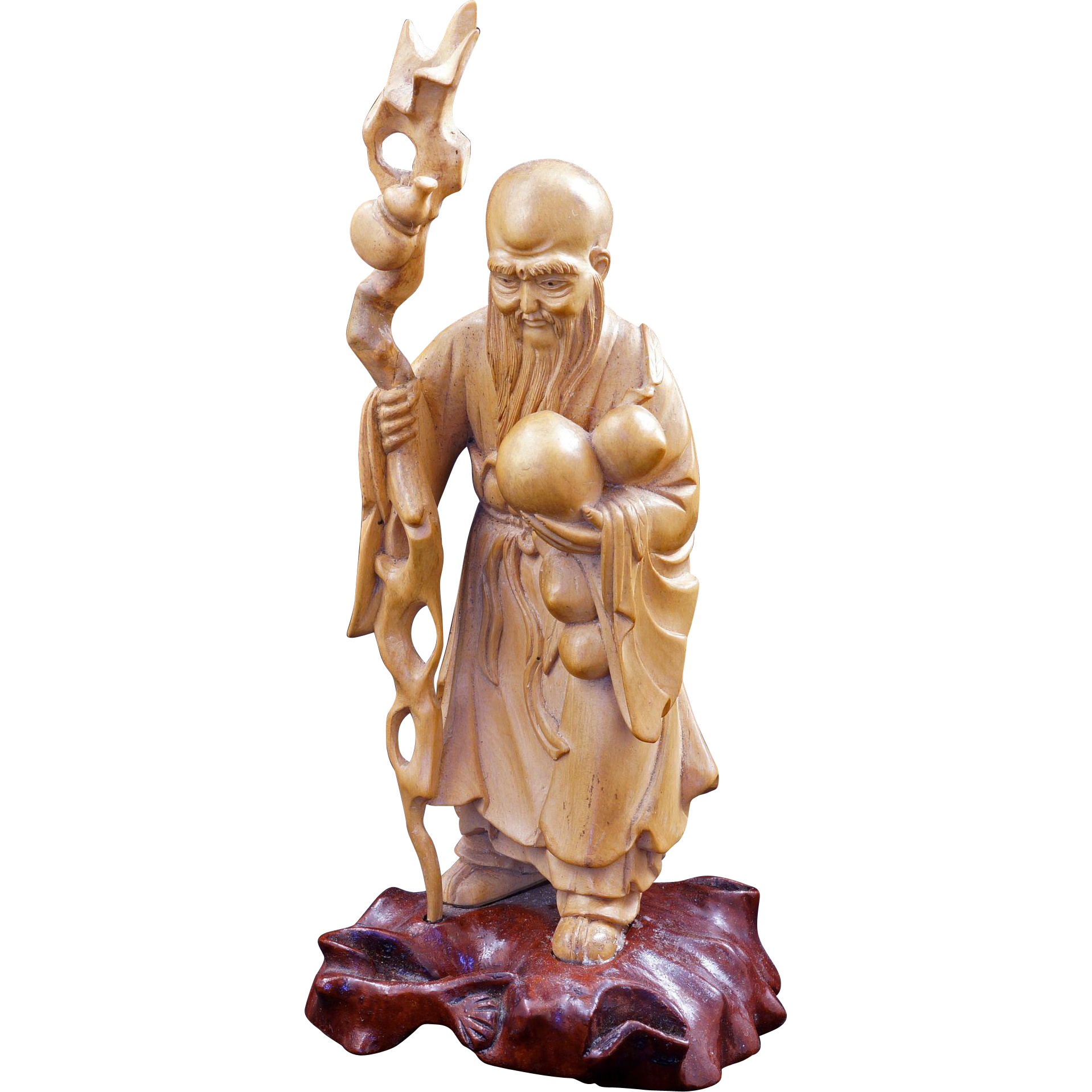 Chinese fukienese boxwood carving of shao lao the immortal