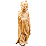 Japanese boxwood carving of a Shinto priest early 20th century