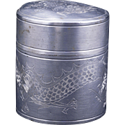 Chinese metal alloy cylindrical tea caddy early 20th century