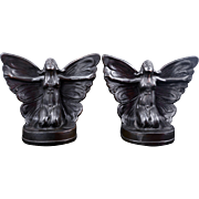 Art Nouveau butterfly girl bronze clad book ends circa 1925