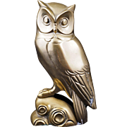 Vintage brass deco owl single bookend or doorstop 20th century
