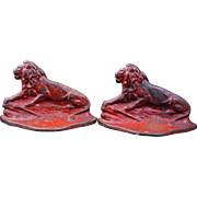 Connecticut Foundry iron lion bookends circa 1928