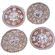 Set of four Chinese silk roundel embroideries circa 1900