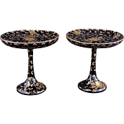 Pair of Japanese lacquered decorative stem cups with gold lacquer design in a presentation box 20th century