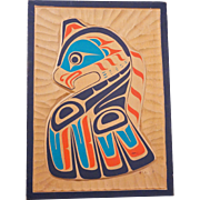 Hand carved vintage signed Canadian First Nation wooden plaque with a Kwakiutl Thunderbird design by Gordon Twance