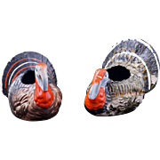 Pair of plaster candy container turkeys circa 1910
