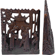 Chinese carved tropical wood bookends circa 1900