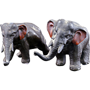Pair of cast metal black colored elephants circa 1930
