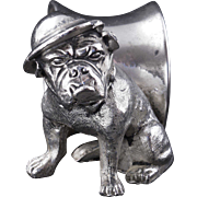 English silver plate militaria napkin ring of a British bulldog from World War I early 20th century