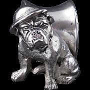 English silver plate militaria napkin ring of a British bulldog from World War I early 20th century
