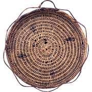 Northwest Salish Indian flat basket in a tray shape early 20th century