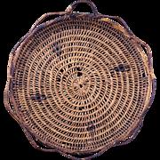Northwest Salish Indian flat basket in a tray shape early 20th century