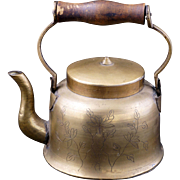 Chinese lidded etched brass teapot with wood handle circa 1900