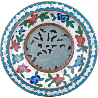 Small Chinese cloisonné dish with jade inset circa 1900