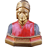 Single painted plaster bookend of Dante circa 1920