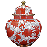 Chinese copper based cloisonné red and white ginger jar with lid circa 1900