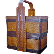 Chinese stacking wedding or food basket with carved bamboo handle circa 1900