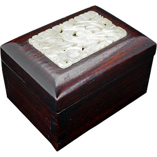 Vintage Chinese hardwood lidded box with pale green carved inset jade panel early 20th C