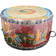 "Old Chinese Double Sided 14"" Dragon Temple Drum 19th Century"