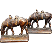 Rider less horse bronze heavy bookends circa 1930