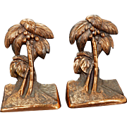 Pair of copper clad metal palm tree bookends circa 1930 or 1940