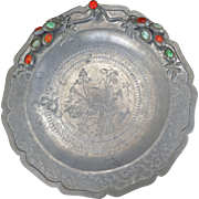 Chinese pewter foliate rim charger with jade and carnelian jewels circa 1900
