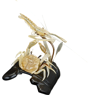 Chinese early resin sculpture carving of a shrimp and crab Republic period