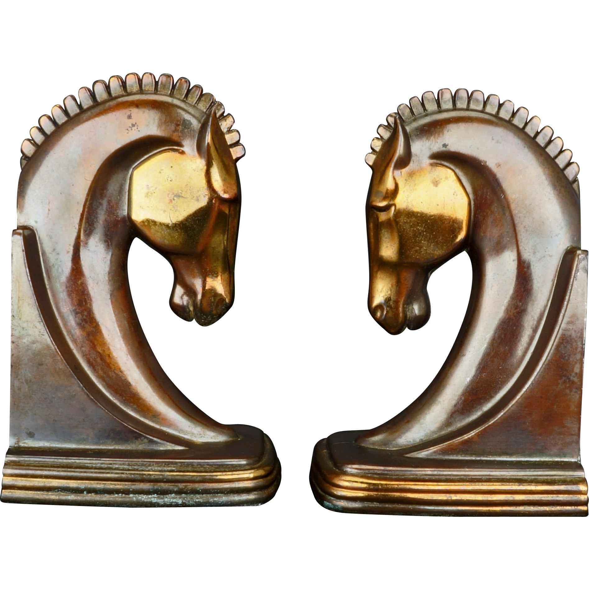 Matched pair of Deco horse head bookends by Dodge circa 1930