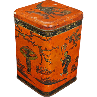 Antique lithographed hinged tin tea canister with Japanese design circa 1900