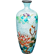 Vintage Japanese Ginbari cloisonné vase with peony design late 19th, early 20th century