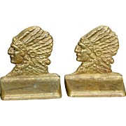 Rare matching pair of Indian Chief profile bronze bookends circa 1920