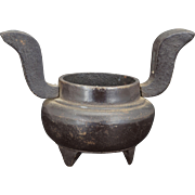 Small, round antique Japanese censer with arms 19th century